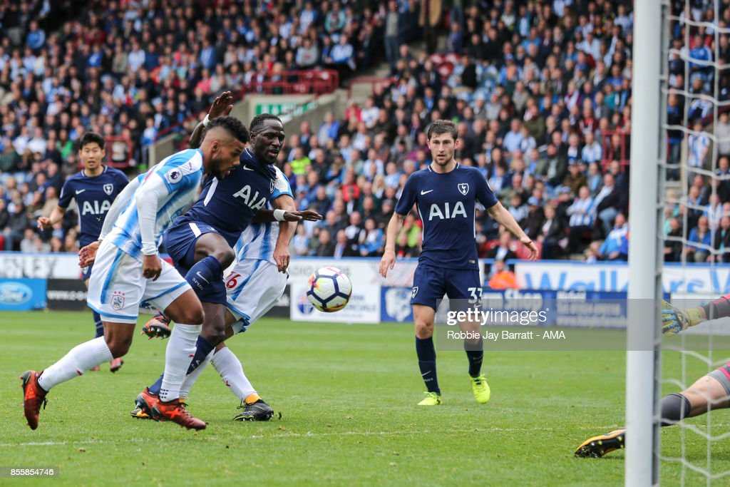 Moussa Sissoko of Tottenham Hotspur scores a goal to make it 0-4 during the Premier League match between Huddersfield Town and Tottenham Hotspur at John Smith's Stadium on September 30, 2017 in Huddersfield, England.