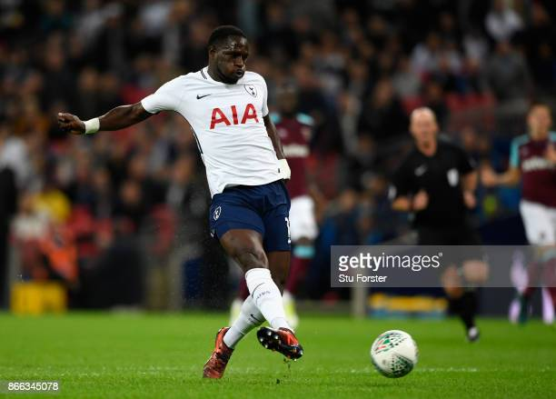 Moussa Sissoko of Tottenham Hotspur scores his side's first goal during the Carabao Cup Fourth Round match between Tottenham Hotspur and West Ham...