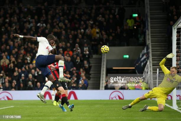 Moussa Sissoko of Tottenham Hotspur scores his team's third goal during the Premier League match between Tottenham Hotspur and AFC Bournemouth at...