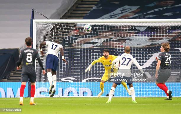 Moussa Sissoko of Tottenham Hotspur scores the opening goal during the Carabao Cup Semi Final match between Tottenham Hotspur and Brentford at...