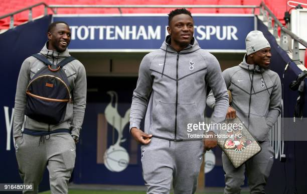 Moussa Sissoko of Tottenham Hotspur Victor Wanyama of Tottenham Hotspur and Serge Aurier of Tottenham Hotspur arrive at the stadium prior to the...