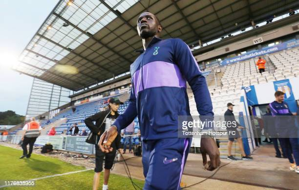 Moussa Sissoko of Tottenham Hotspur walks out onto the pitch prior to the Carabao Cup Third Round match between Tottenham Hotspur and Colchester...