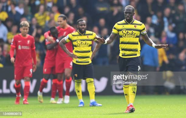 Moussa Sissoko of Watford FC shows his disappointment after the goal of Sadio Mane of Liverpool during the Premier League match between Watford and...