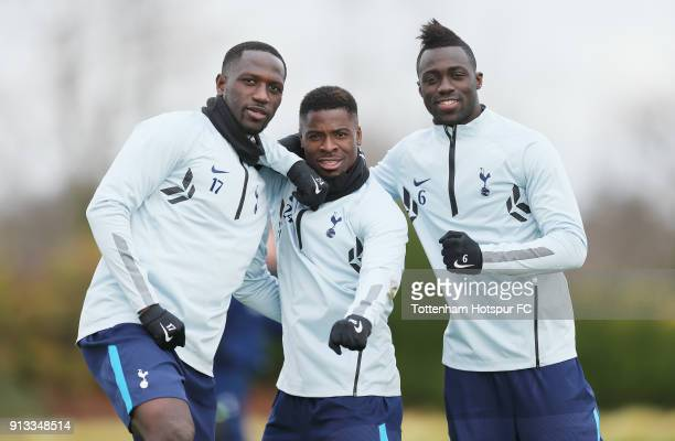 Moussa Sissoko Serge Aurier and Davinson Sanchez of Tottenham Hotspur during the Tottenham Hotspur training session at Tottenham Hotspur Training...