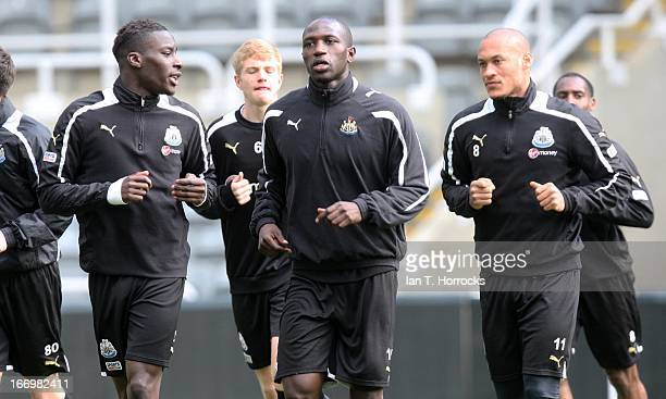Moussa Sissoko Yoan Gouffran and Massadio Haidara during a Newcastle United training session at St James' Park on April 19 in Newcastle upon Tyne...