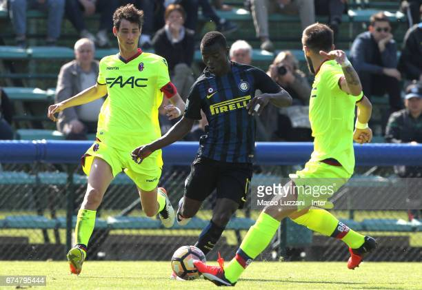 Moussa Souare of FC Internazionale Milano competes for the ball during the Primavera Tim juvenile match between FC Internazionale and Bologna FC at...