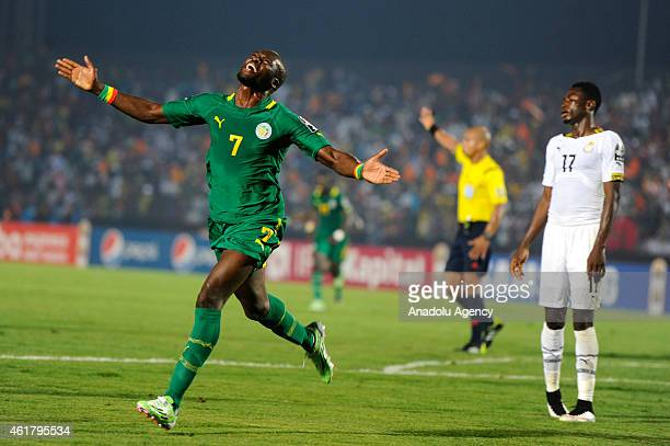 Moussa Sow of Senegal celebrates after scoring a goal during the 2015 Africa Cup of Nations Group C soccer match between Ghana and Senegal at the...