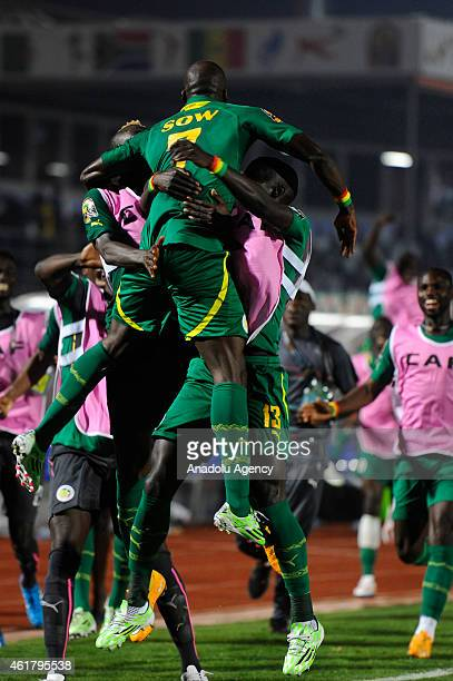 Moussa Sow of Senegal celebrates with his teammates after scoring a goal during the 2015 Africa Cup of Nations Group C soccer match between Ghana and...