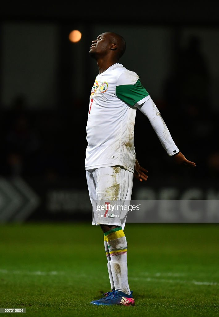 Moussa Sow of Senegal reacts after missing a shot on goal during the International Friendly match between Nigeria and Senegal at The Hive on March 23, 2017 in Barnet, England.