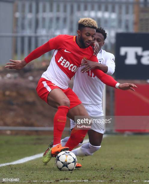 Moussa Sylla of AS Monaco U19s holds of Tashan OakleyBoothe of Tottenham Hotspur U19s during UEFA Youth League Round 16 match between Tottenham...