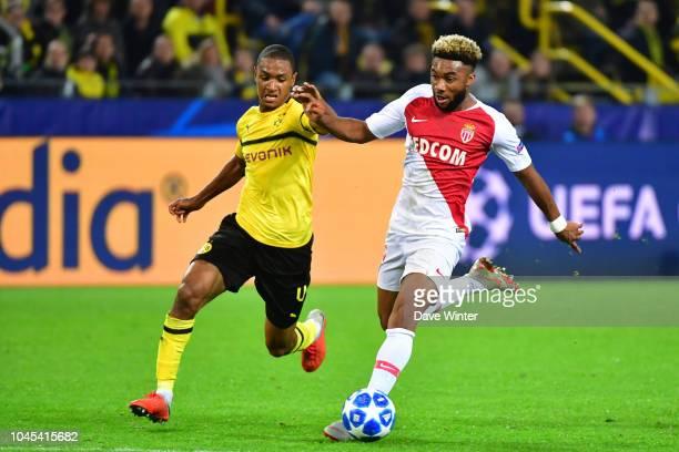 Moussa Sylla of Monaco and Abdou Diallo of Borussia Dortmund during the UEFA Champions League match between Borussia Dortmund and AS Monaco at Signal...