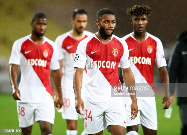 Moussa Sylla of Monaco and his team mate look dejected following their sides defeat in the Group A match of the UEFA Champions League between AS...