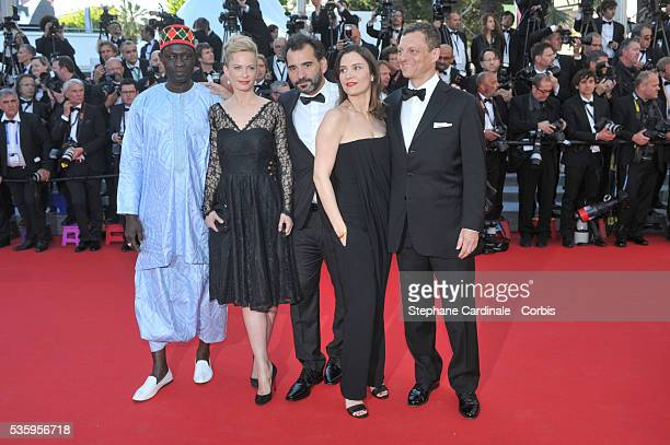 Moussa Toure Maria Bonnevie Regard Pablo Trapero Geraldine Pailhas and Peter Becker attend the 'Mr Turner' premiere during the 67th Cannes Film...