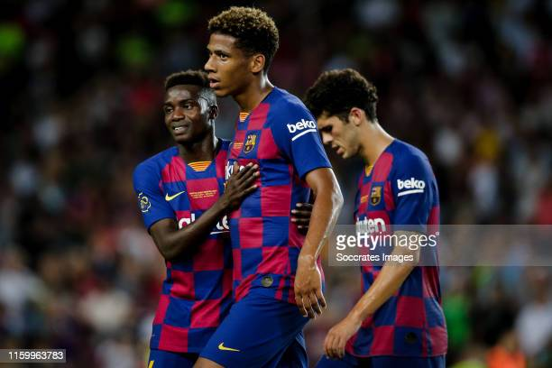 Moussa Wague of FC Barcelona, Jean Clair Todibo of FC Barcelona during the Club Friendly match between FC Barcelona v Arsenal at the Camp Nou on...