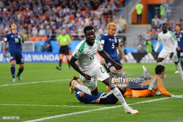 Moussa Wague of Senegal celebrates after scoring his team's second goal during the 2018 FIFA World Cup Russia group H match between Japan and Senegal...