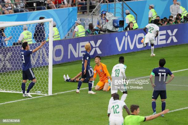 Moussa Wague of Senegal celebrates scoring his side's second goal during the 2018 FIFA World Cup Russia group H match between Japan and Senegal at...