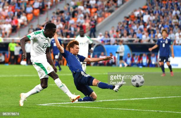 Moussa Wague of Senegal scores his sides second goal during the 2018 FIFA World Cup Russia group H match between Japan and Senegal at Ekaterinburg...