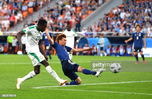 Moussa Wague of Senegal scores his team's second goal during the 2018 FIFA World Cup Russia group H match between Japan and Senegal at Ekaterinburg...
