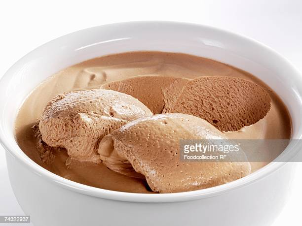 Mousse au chocolat in white bowl