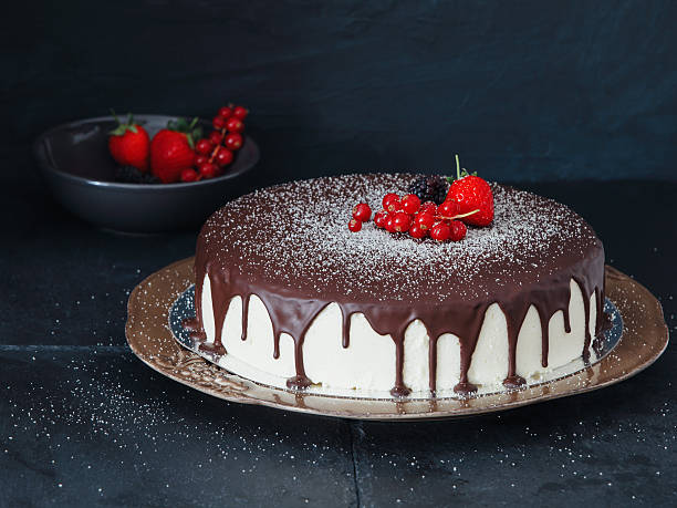 Mousse Cake With Chocolate Icing And Berries Wall Art