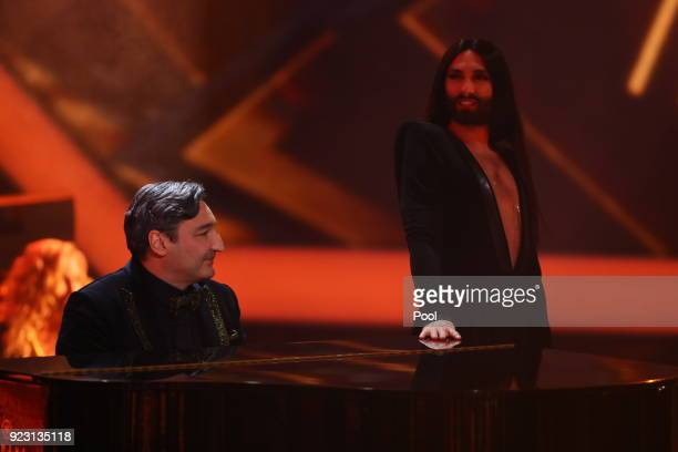 Mousse T and Conchita during the show of 'Goldene Kamera' at Messehallen on February 22 2018 in Hamburg Germany