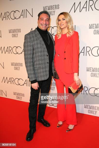 Mousse T and Janina Nectara during the Marc Cain Fashion Show Berlin Autumn/Winter 2018 at metro station Potsdamer Platz at on January 16 2018 in...