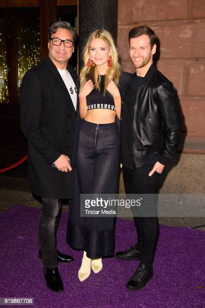 Mousse T Carolin Niemczyk and Daniel Grunenberg of the band Glasperlenspiel attend the PLACE TO B Party on February 17 2018 in Berlin Germany