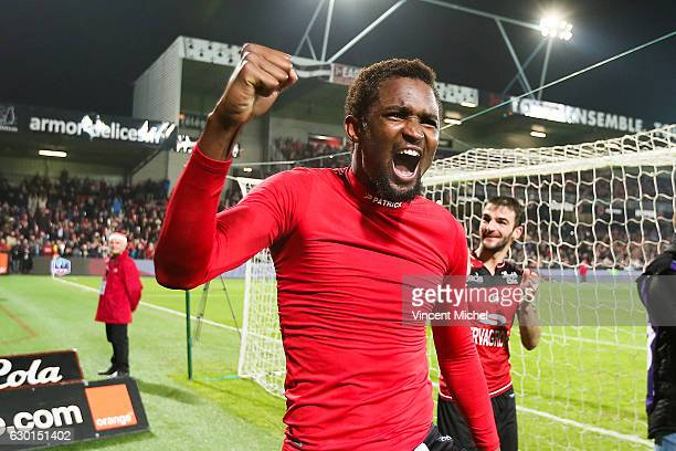 Moustapha Diallo of Guingamp celebrates at the end of the match during the French Ligue 1 match between Guingamp and Paris Saint Germain at Stade du...