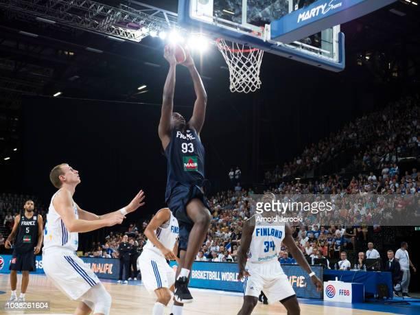 Moustapha Fall from France in action during the FIBA Basketball Wolrd cup 2019 qualifier match between France and Finland at the Sud de France Arena...