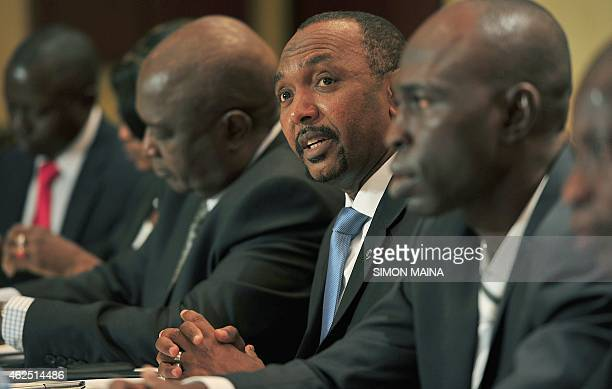 Moustapha Saboune former Seleka militia member from the Central African Republic speaks at a press conference flanked by Mukom Gawaka and Abel...