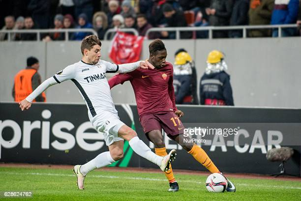 Moustapha Seck of AS Roma and Alexandru Stan of FC Astra Giurgiu during the UEFA Europa League 20162017 Group E game between FC Astra Giurgiu and AS...