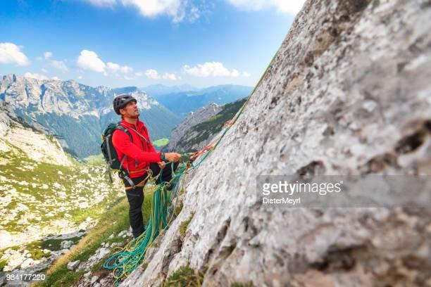 moutain climber in nationalpark berchtesgaden, mount hochkalter - berchtesgadener land stock photos and pictures