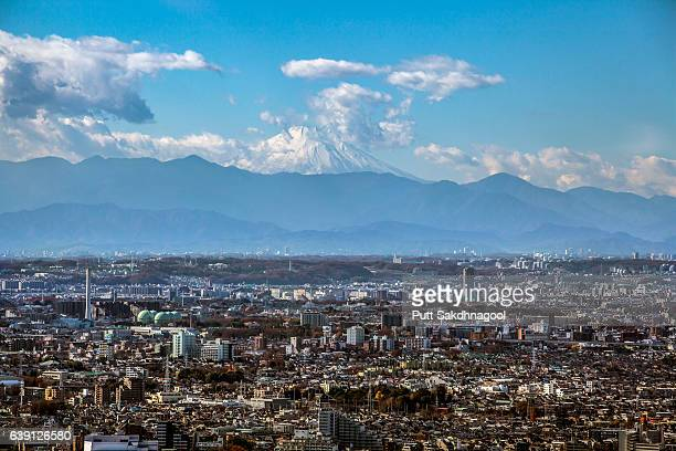 mouth fuji and tokyo city on a clear day - 地方庁舎 ストックフォトと画像