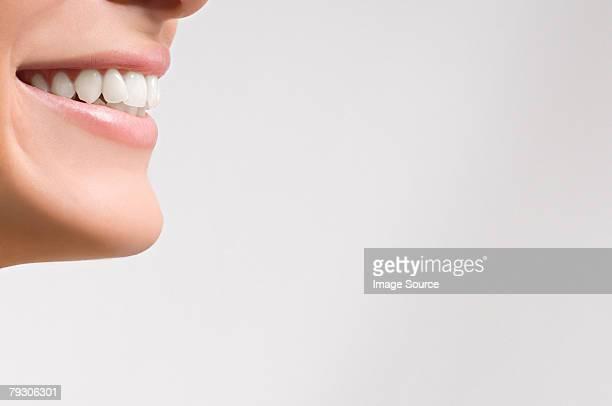 boca de una mujer sonriente - boca humana fotografías e imágenes de stock