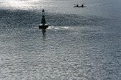 river sella with buoy canoeists ribadesella