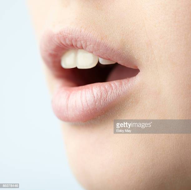 Mouth of young woman, close-up