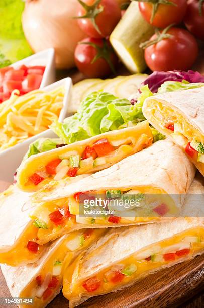 Mouthwatering quesadilla containing various vegetables