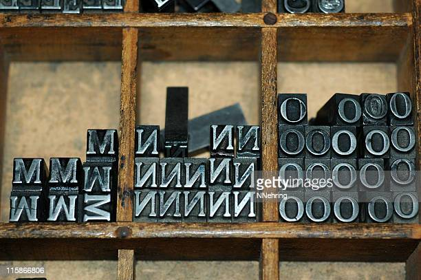 movable type m n o - letter n stock pictures, royalty-free photos & images
