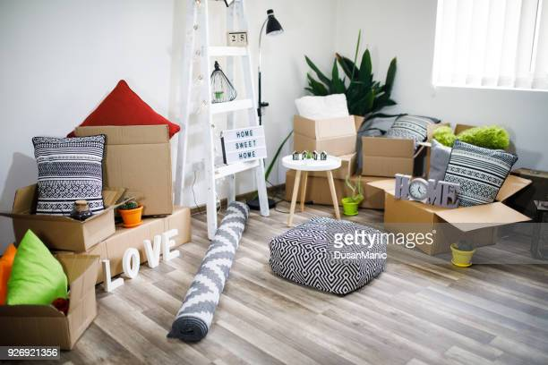move. cardboard boxes and cleaning things for moving into a new home - belongings stock photos and pictures