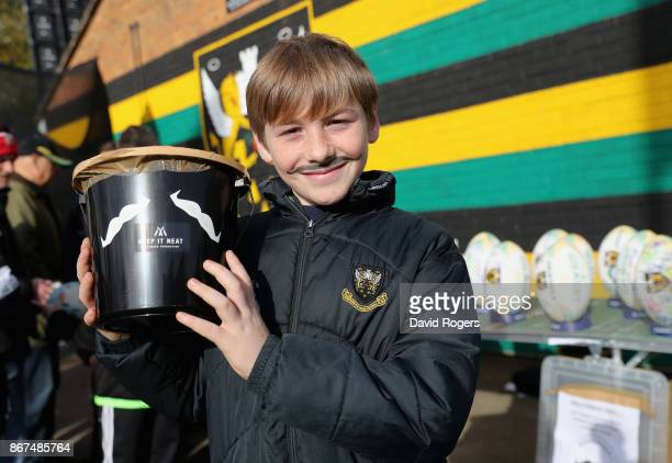 Movember collectors during the Aviva Premiership match between Northampton Saints and Wasps at Franklin's Gardens on October 28 2017 in Northampton...