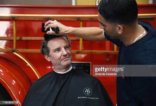 Movember Executive Director Mark Hedstrom and barber Javier Oregel attend the MOVEMBER Kickoff Event with Tarek El Moussa and Jason O'Mara at the...