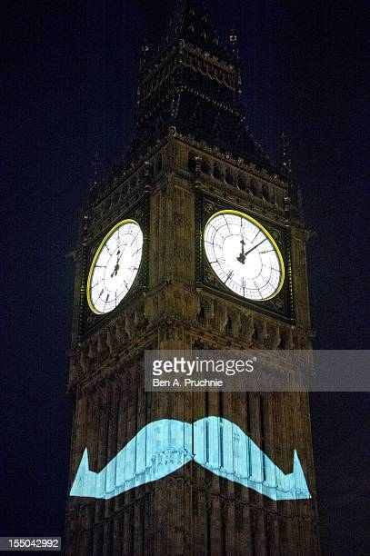 Movember has chosen one of the UK's most iconic landmarks Big Ben to shine a light on the 2012 Movember campaign on October 31 2012 in London England...