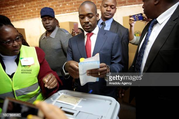 Movement for Democratic Change leader Nelson Chamisa casts his vote during presidential and general elections at the 2 Primary High School in...