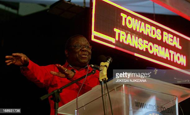 Movement for Democratic Change President and Zimbabwe Prime Minister Morgan Tsvangirai gives the official opening address during the three day MDC...