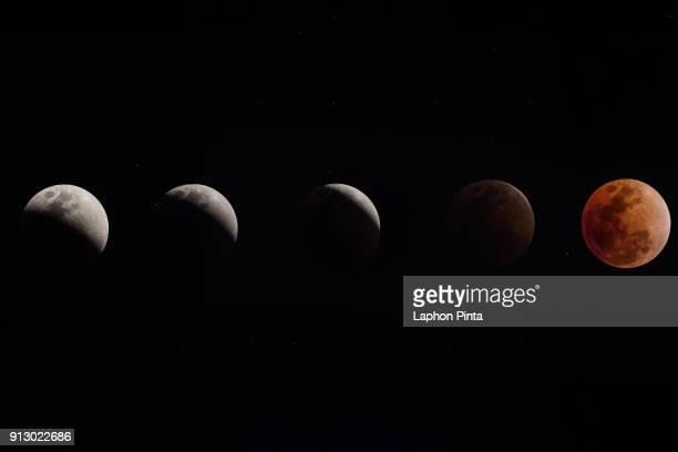 movement of the luna eclipse - orbiting - fotografias e filmes do acervo