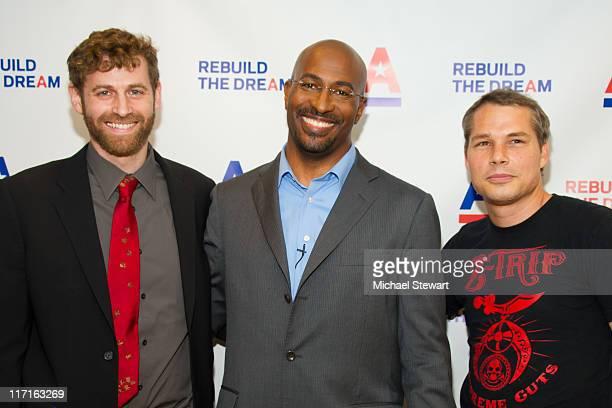 MoveOnorg Executive Director Justin Ruben activist Van Jones and artist Shepard Fairey attend the 2011 Rebuild the Dream campaign launch at Town Hall...