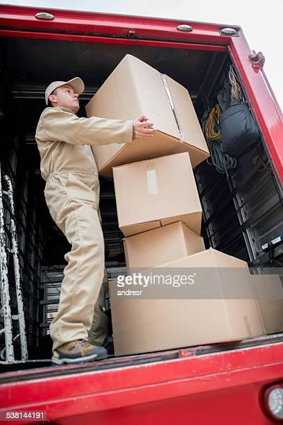 Déménageur chargement Camion de déménagement