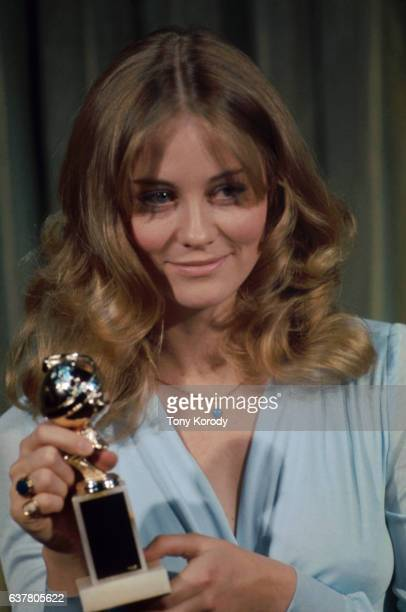 Movie actress Cybill Shepherd holds a Golden Globe Award during the 1973 Golden Globe Award ceremony She was a presenter at the awards show