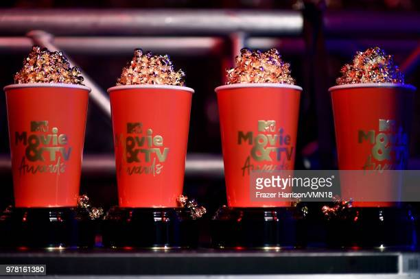 Movie And TV Award statuettes displayed at the 2018 MTV Movie And TV Awards at Barker Hangar on June 16 2018 in Santa Monica California