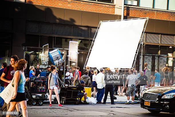 movie and tv series set in new york streets - filmen stockfoto's en -beelden